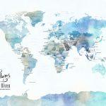 Blue Watercolour – Minimalist World Map