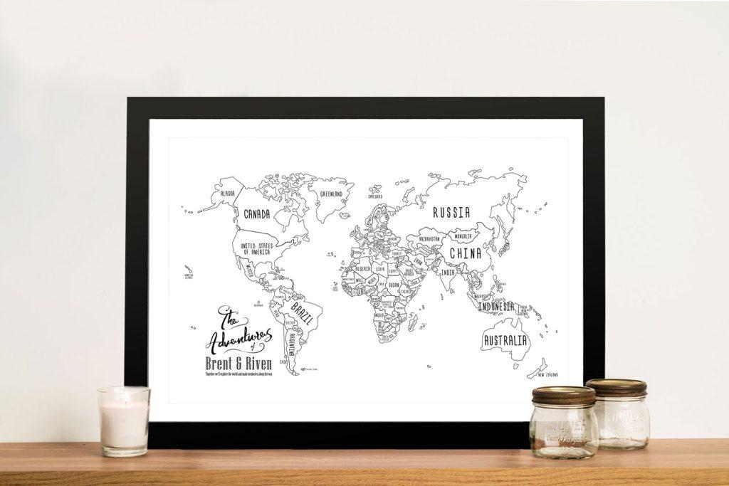Chalkboard Pushpin World Map