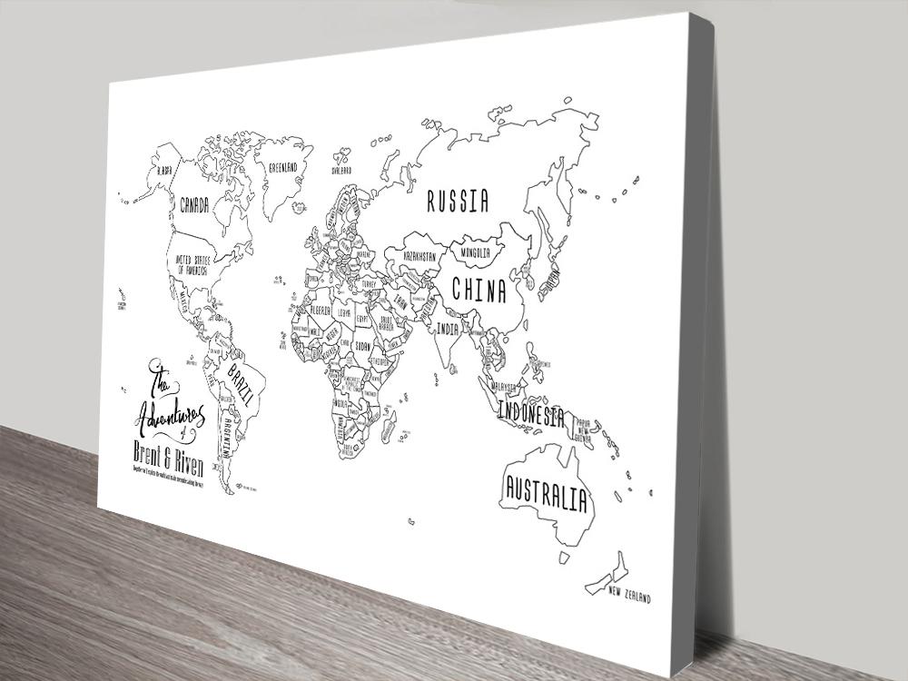 Personalised White Chalkboard Push Pin Travel Map