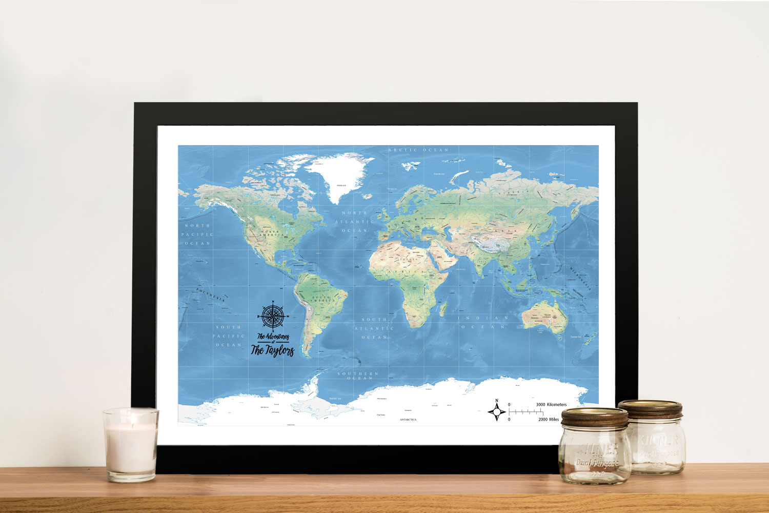 Buy a Miller Physical Classic Custom World Map | Miller Physical World Map