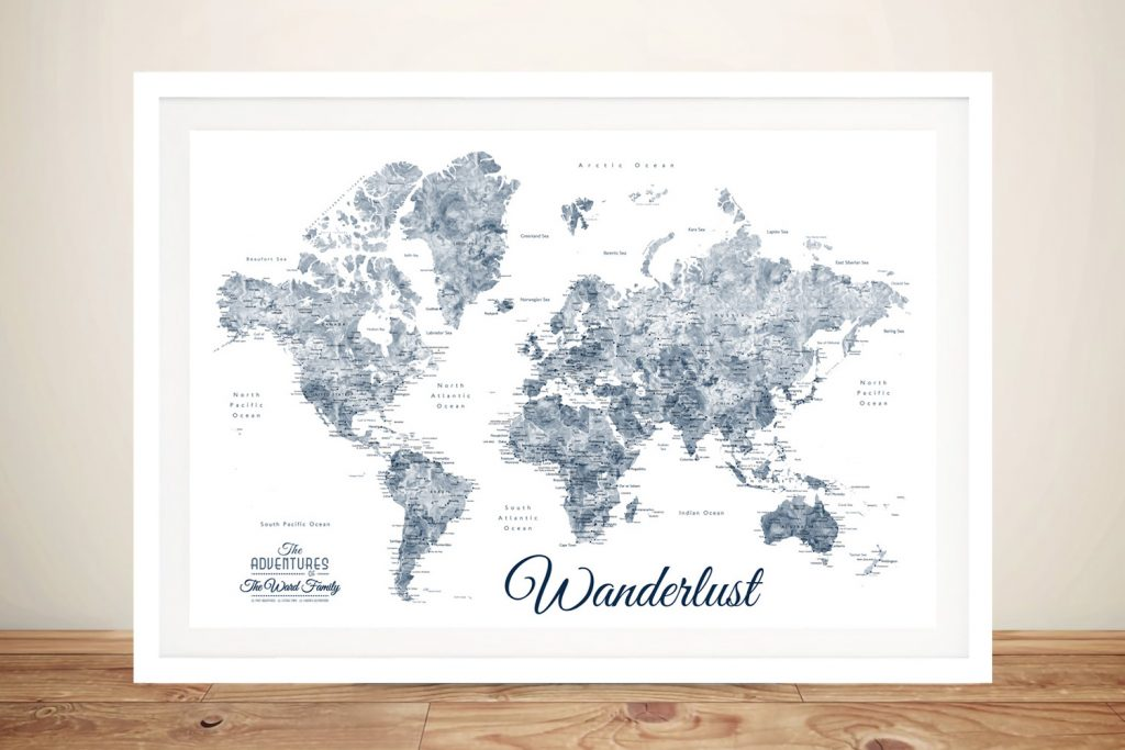Buy a Blue & White Wanderlust Framed Map