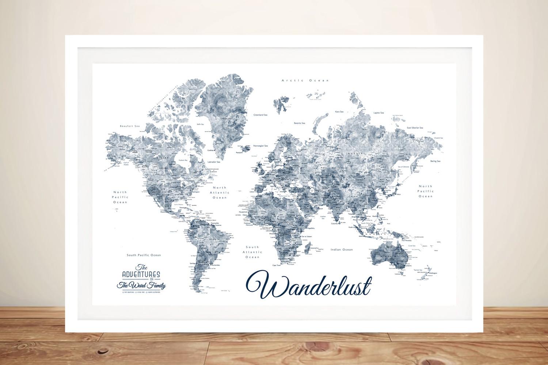 Buy a Blue & White Wanderlust Framed Map   Wanderlust Blue & White World Map