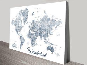 Buy a Vintage Effect Wanderlust World Map
