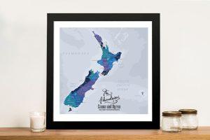 Custom New Zealand Map Framed Wall Art