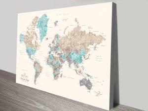 Buy Custom Watercolour World Maps in Pastel Tones