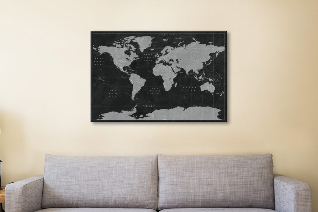 Buy Affordable Custom Pushpin Canvas Map Art
