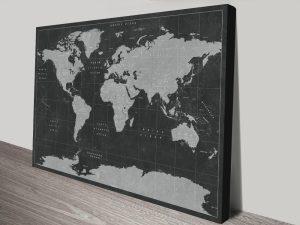 Buy World Map Custom Wall Art in Black & White