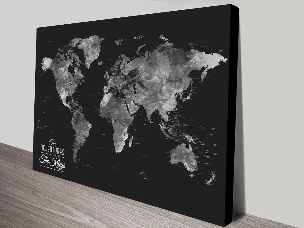 Buy Wanderlust Black & Silver World Map Artwork | Wanderlust Black & Silver World Map