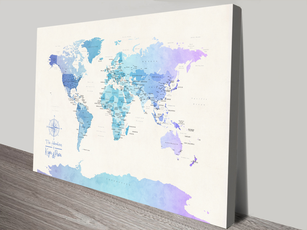 Buy Pushpin Blue Tones World Map Wall Art | Personalised World Map in Watercolours 2