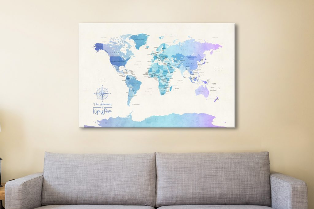 Buy Ready to Hang Custom Maps with Pushpins