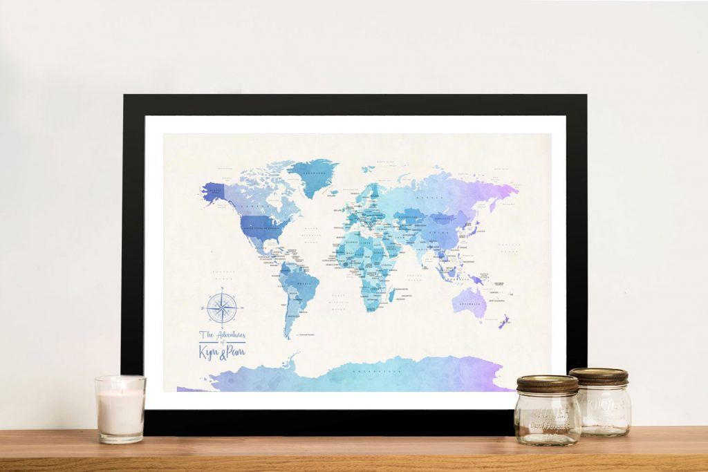 Buy Watercolour World Map Canvas Art Online