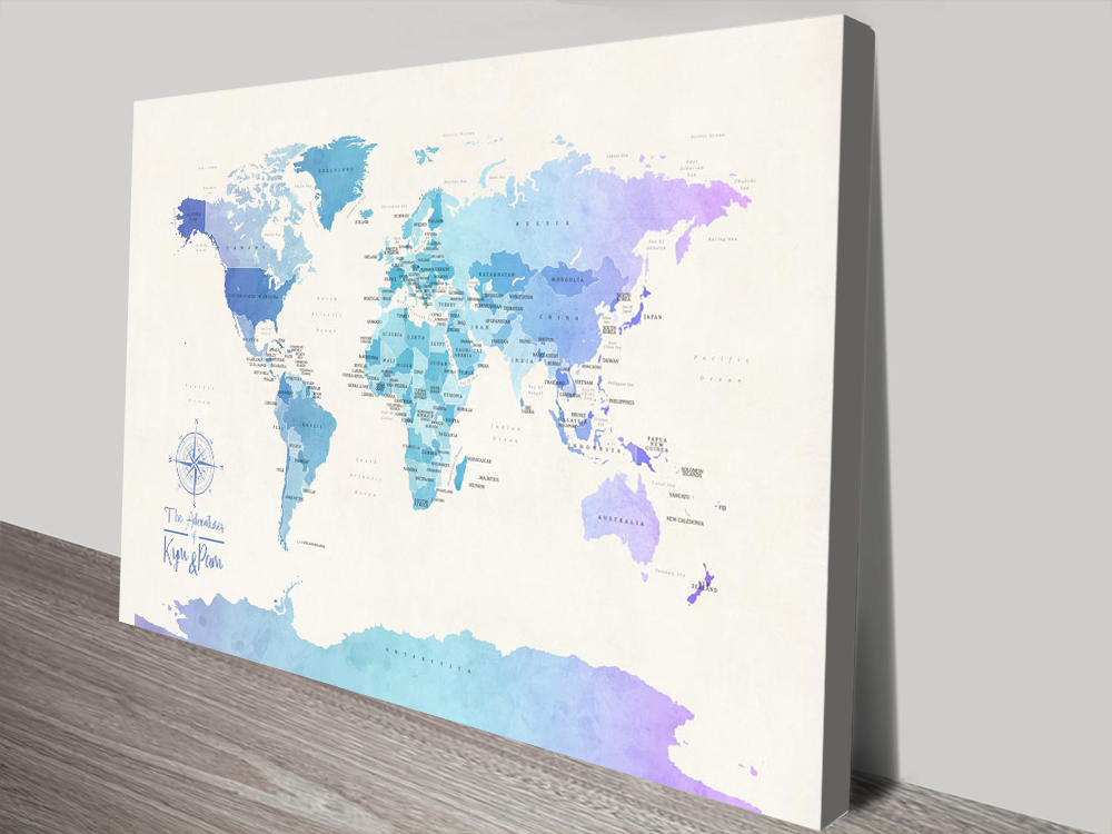 Buy Pushpin Blue Tones World Map Wall Art | Political World Map in Watercolours 2