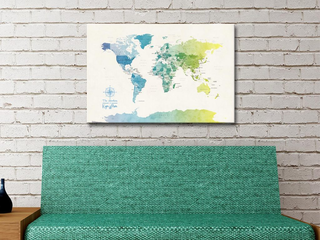 Buy a World Map in Yellow and Green Tones