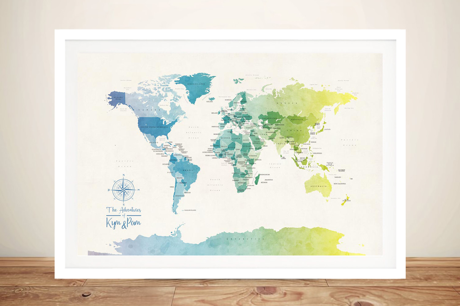 Buy Watercolour Political World Map Wall Art | Personalised World Map in Watercolours 1
