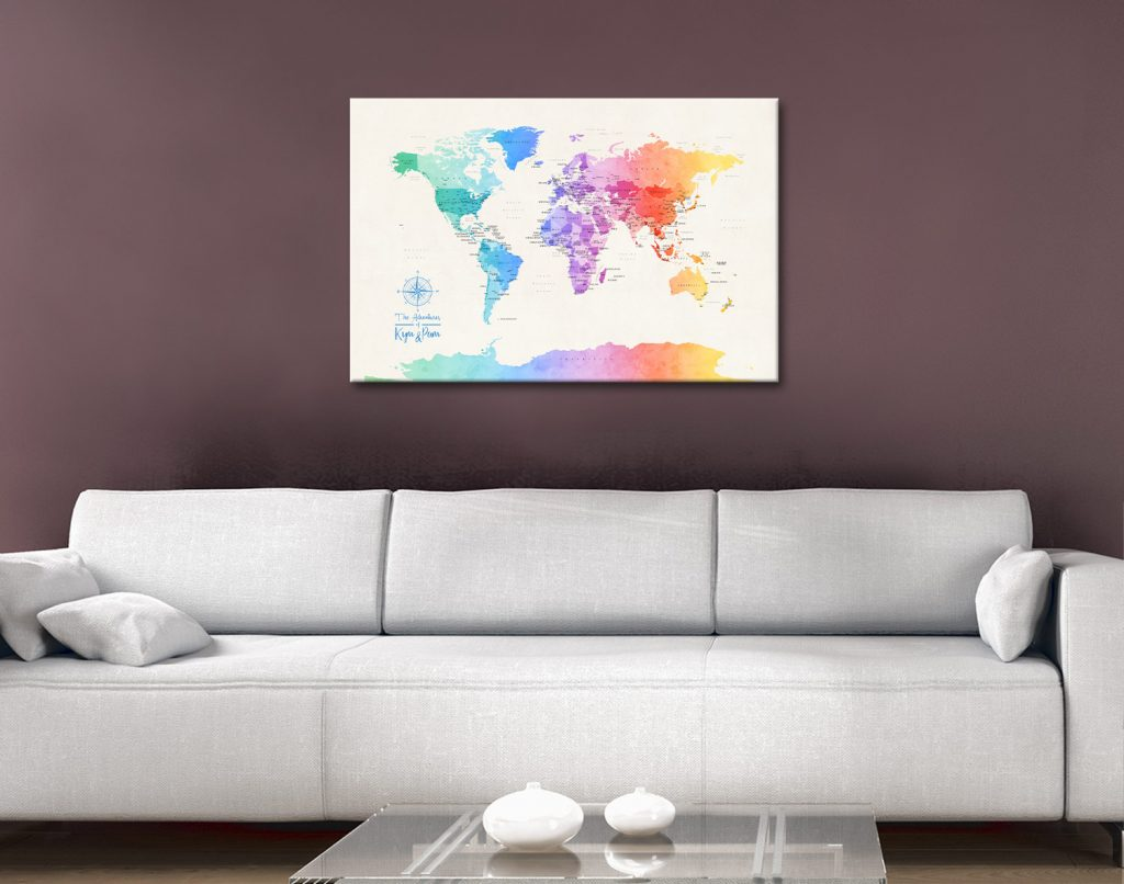 Watercolour Pinboard Map-of the World Canvas Artwork