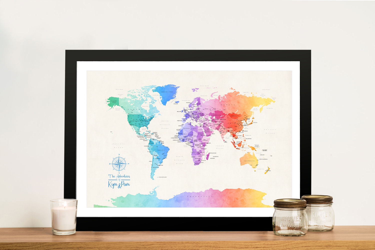 Buy a Political World Map in Colourful Watercolour Tones | Personalised World Map in Watercolours 3