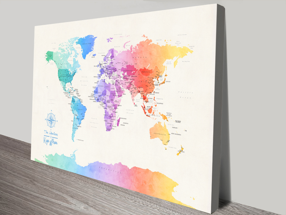 Buy Colourful Map Art Online