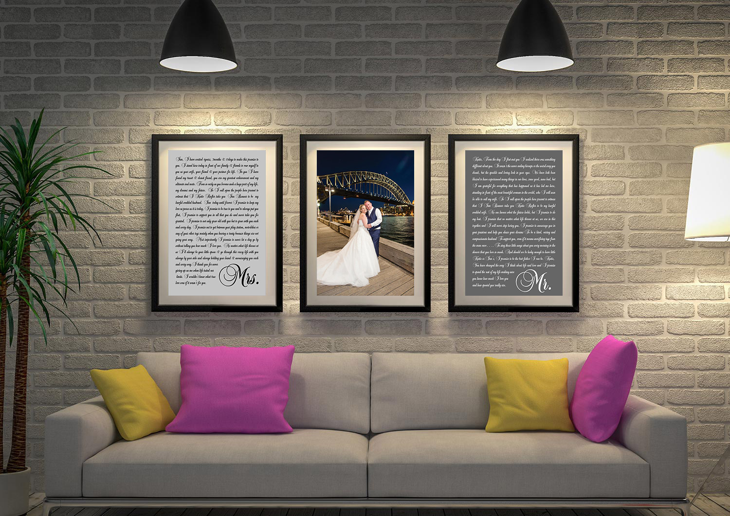 Buy Personalised Triptych Wedding Vows Art | Wedding Vows Art Triptych 2