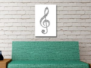 Custom Music Notes Word Canvas Art