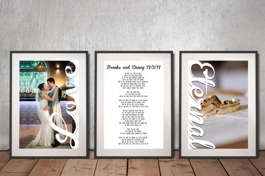 Wedding vows Framed Triptych Art