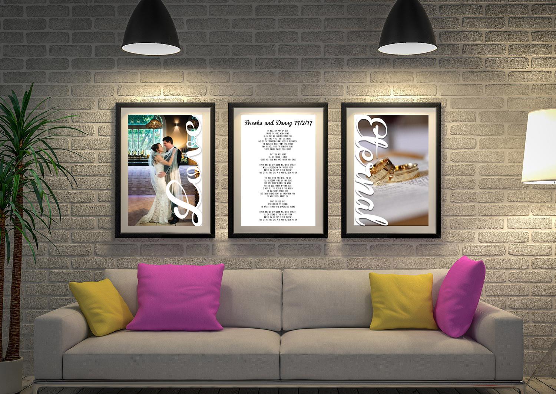 Unique Custom Marriage Vows Art | Wedding Vows Art Triptych 16