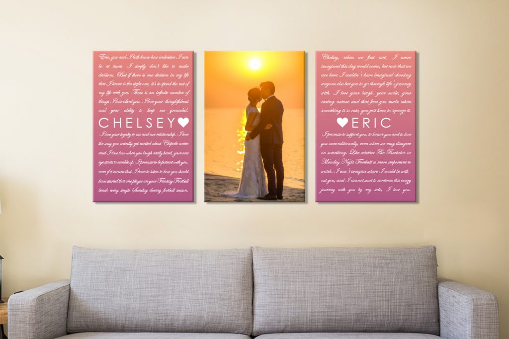 Buy Triptych Wedding Gift Custom Wall Art