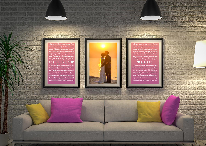 Buy Unique 3-Piece Wedding Vow Word Art | Wedding Vows Art Triptych 6