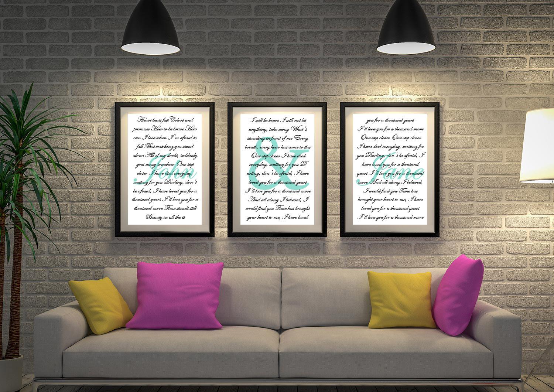 Buy A Thousand Years Triptych Wedding Wall Art | Wedding Vows Art Triptych 19