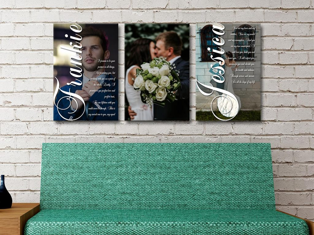 Buy Wedding Vow Canvas Triptych Wall Art