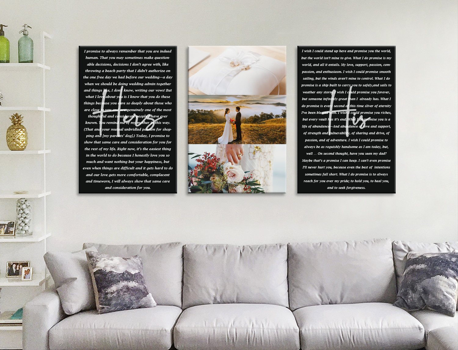 Buy Unique Custom Wedding Vow Word Art | Wedding Vows Art Triptych 14