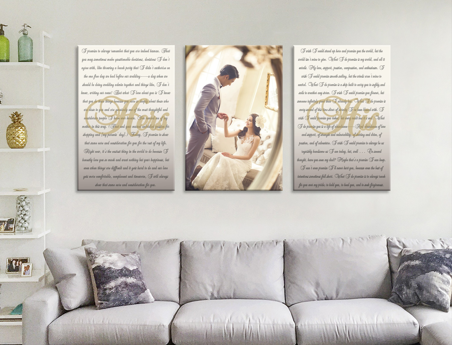Buy Custom Split Canvas Wedding Vow Wall Art | Wedding Vows Art Triptych 15