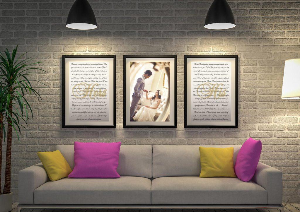 Buy 3-Panel Romantic Canvas Wall Art Online