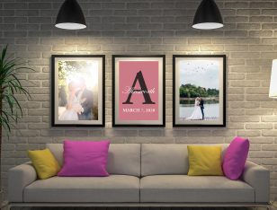 Buy Personalised Wedding Vow Triptych Art