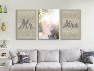 Wedding Art Triptych Canvas Print