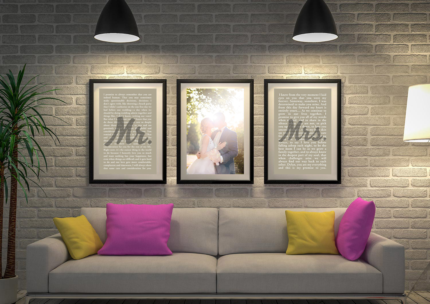 3 Piece Wedding Vows Canvas Art | Wedding Vows Art Triptych 10