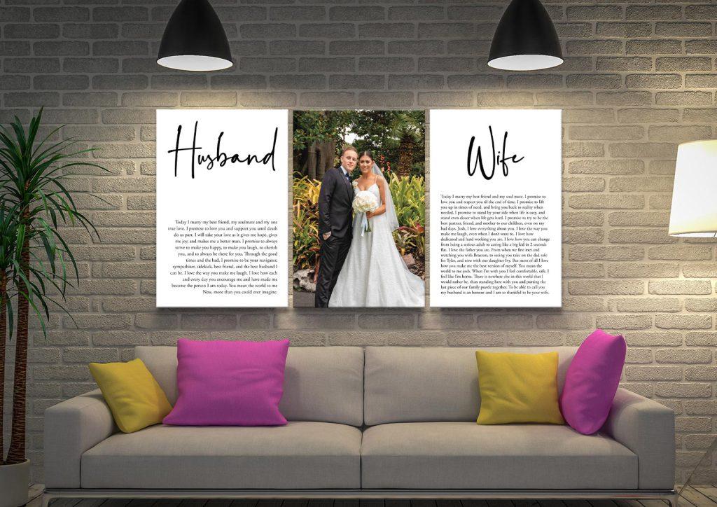 Wedding Vows Art Triptych Canvas Print