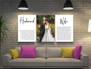 Wedding Vows Art Triptych Canvas Print