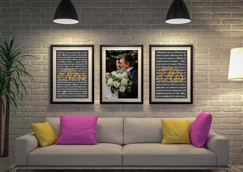 Buy Custom Triptych Wedding Vow Artwork | Wedding Vows Art Triptych 7