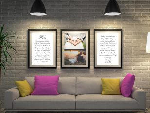 Buy Triptych Wedding Vows Custom Wall Art