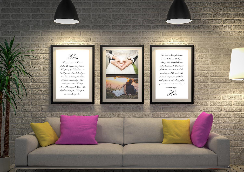 Buy Triptych Wedding Vows Custom Wall Art | Wedding Vows Art Triptych 3