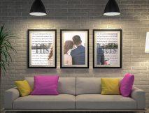 Buy Unique Custom Triptych Wedding Vows Art Set