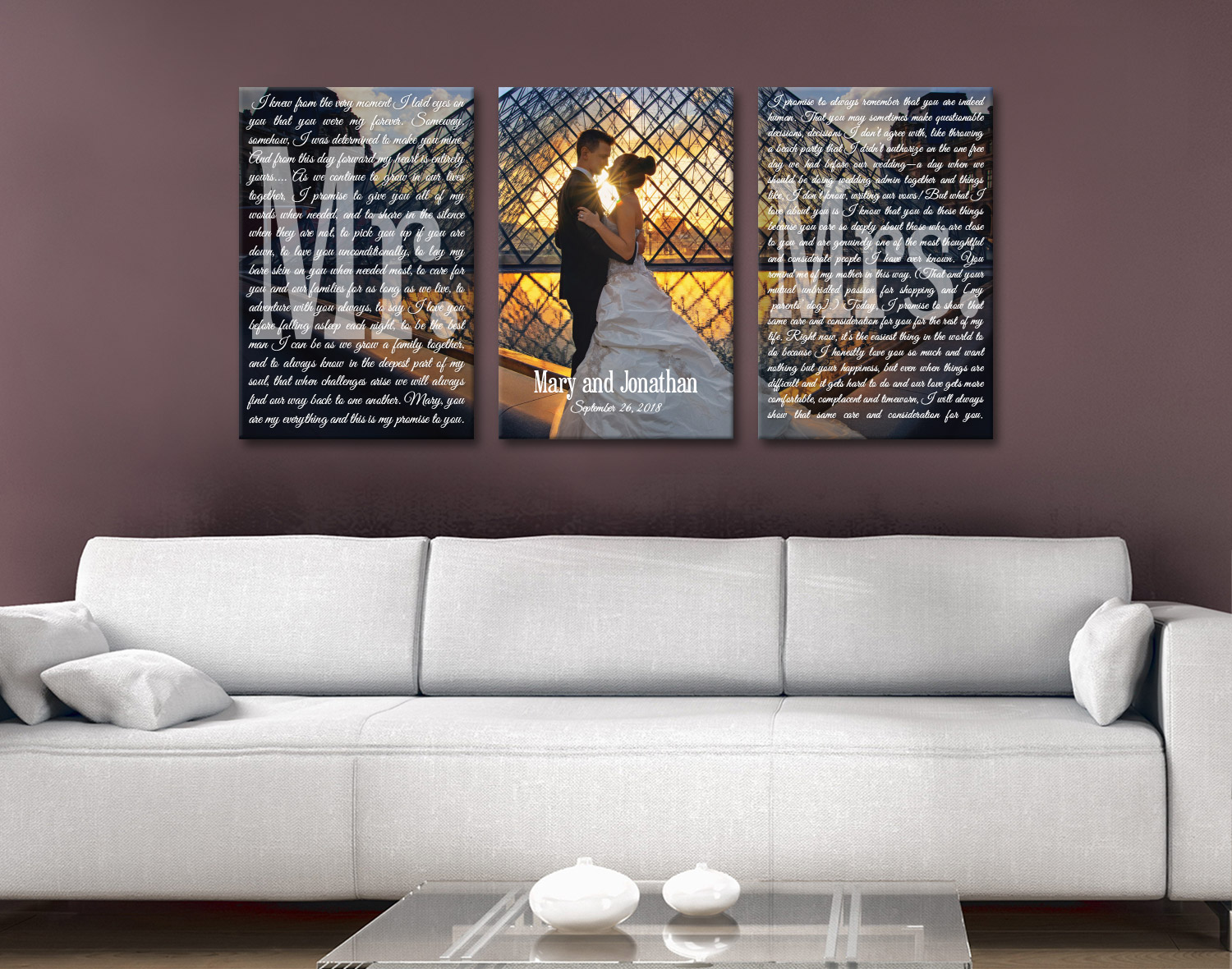 Buy Personalised Marriage Vows Canvas Art | Wedding Vows Art Triptych 18