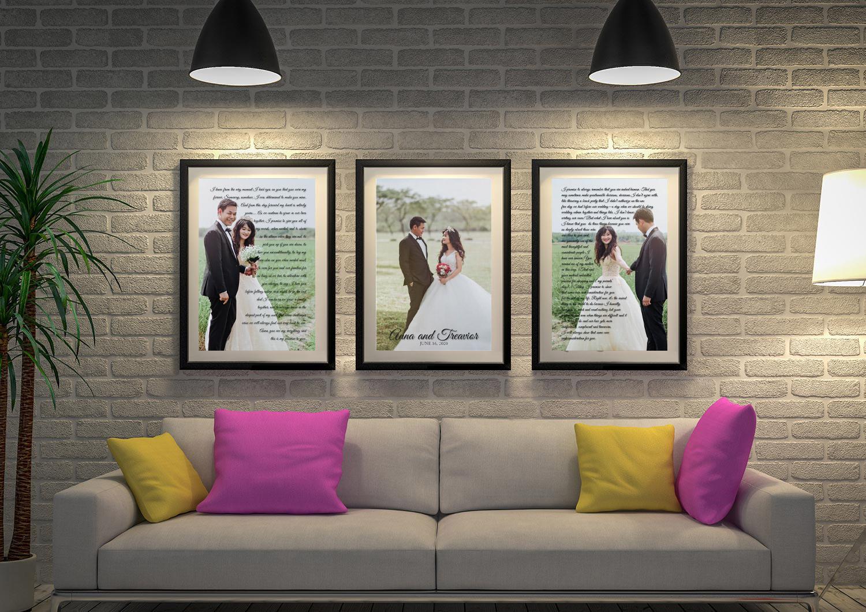 Buy Custom Wedding Vows 3-Piece Wall Art | Wedding Vows Art Triptych 17