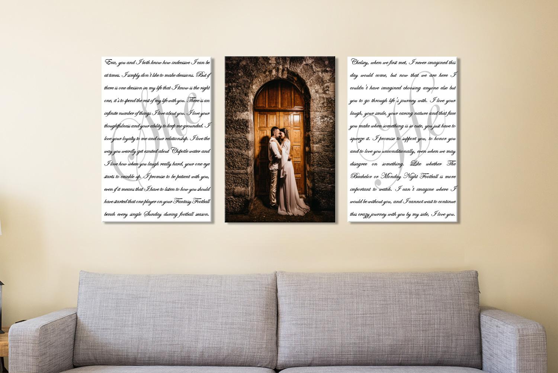 Buy Newly Weds Custom Triptych Wall Art | Wedding Vows Art Triptych 21