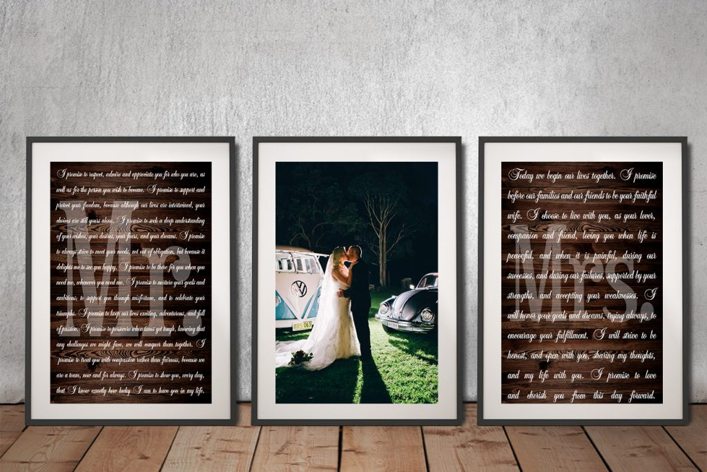 Buy a Ready to Hang Triptych Wedding Vow Set