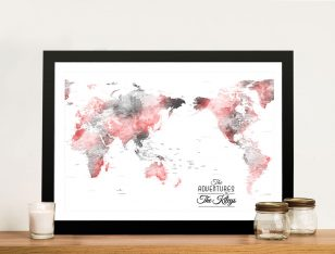 Buy Custom Blue & Red Watercolour Map Art