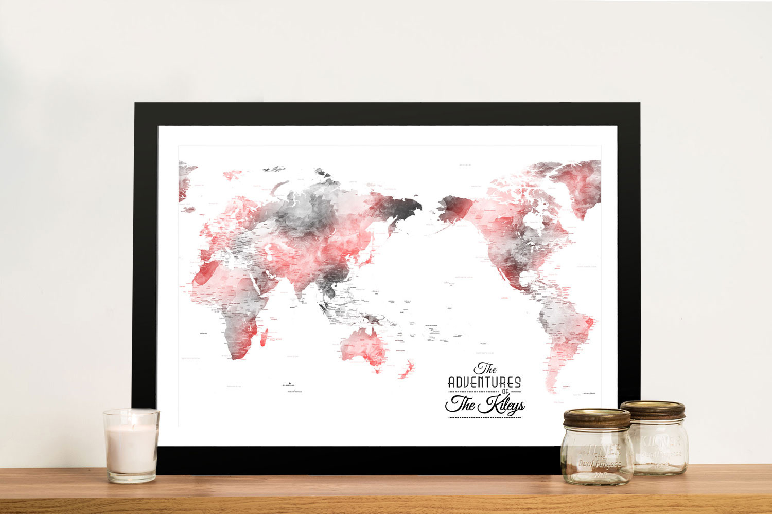 Buy Custom Blue & Red Watercolour Map Art | Australia Centric Grey & Red Push Pin Map