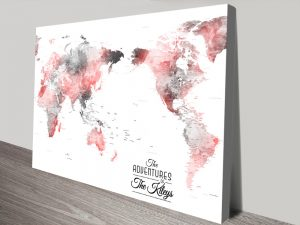 Buy Ready to Hang Watercolour Push Pin Map Wall Art