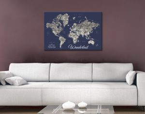 Buy Custom Push Pin Navy Blue Map Art Online