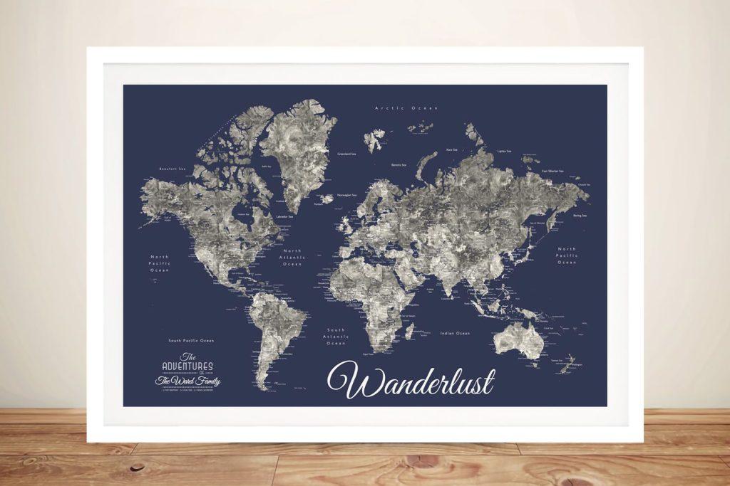 Buy a Custom Navy Blue Detailed World Map